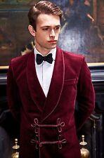 Mens Red Velvet Smoking Blazer Luxury Evening Party Host Wear Dinner Jacket Coat