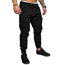 New Men Slim Fit Urban Straight Leg Trousers Casual Pencil Jogger Cargo Pants
