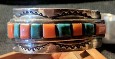 Vintage  Navajo  American Sterling Silver Turquoise Coral Channel Set Watch Band
