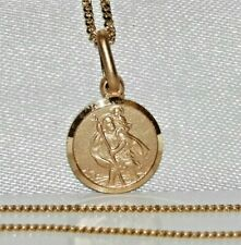 """Solid 9ct Yellow Gold on Silver St Christopher Pendant Necklace & 18 """" Chain"""