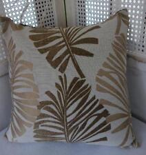 Scandi Bronze + Gold Textured Leaves Jacquard Damask Cushion Cover 45cm