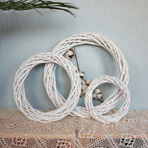 10/20/30cm Christmas Rattan Ring White Wreath Garland DIY Wedding Decoration