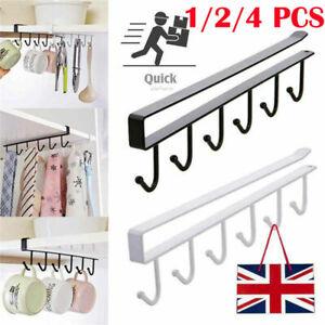 6 Hooks Under Shelf Mug Hanging Rack Metal Cup Holder Kitchen Cupboard Organiser