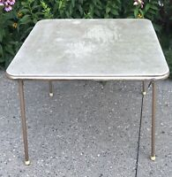 "VTG MCM COSCO Tan Beige Indiana USA Folding Card Table Metal Frame Hard Top 35""W"