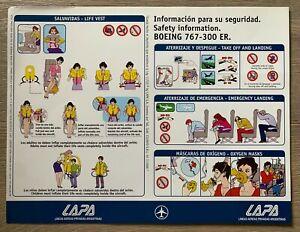 LAPA BOEING 767-300ER SAFETY CARD LINEAS AEREAS PRIVADAS ARGENTINAS