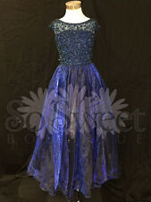 NWT SHERRI HILL LITTLES GIRL PAGEANT DRESS K51260 NAVY BLUE SIZE 10 AUTHENTIC