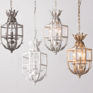 Rustic 3-Light Gold Leaves Metal Cage Pendant Lights Kitchen Ceiling Lamps