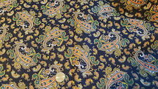 Vintage Cotton Fabric ORANGE,GREEN,GOLD PAISLEY ON BLACK Fruit of Loom 1 Yd/44""