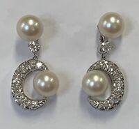 "Estate Jewelry 1.0 Ctw Diamond & Pearl Drop Earrings 14K White Gold 1"""
