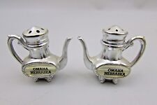 Antique Vtg Salt & Pepper Shaker Set Omaha Nb Nebraska Metal Japan Tea Coffee