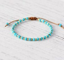 Natural Stone Bead Friendship Bracelet, Stacking Surfer Beaded White Turquoise
