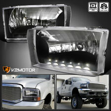 Fit Ford 1999-2004 F250 F350 F450 Pickup Black Headlights w/ SMD LED Strip Pair