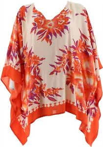 Theodora & Callum Printed Scarf Top Pink Floral Plus NEW A304401