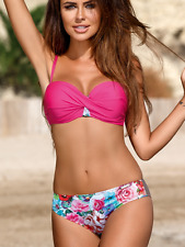 UK10 38/M Bikini Evita soutien-gorge push-up Rose Coffe Brown Floral Haute Qualité GABBIANO