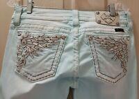 Miss Me Signature Skinny Seefoam Denim Jeans.  Size 30 Rise 8 Waist 32X31 Stretc