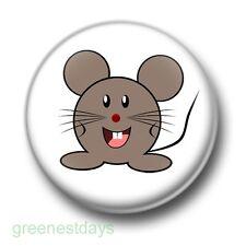 Cute Mouse 1 Inch / 25mm Pin Button Badge Cartoon Mice Kitsch Fun Rodent Rat Fun