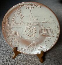 """Oklahoma 1907 Collectible Display State 8"""" x 8"""" Plate w/Stand *Free Shipping*"""