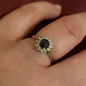 9ct gold sapphire and diamond cluster ring  for Engagement or Valentines Size O