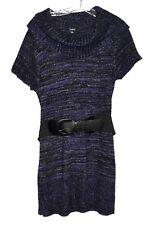Elementz Purple & Silver Metallic Speckles Cowl Neck Belted Sweater Dress Size M