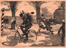 """Rad-Radfahrer""""Der radelnde Schornsteinfeger""""Orig.Holzstich n.Brockmüller v. 1899"""