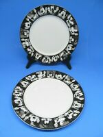 """Disney Mickey And Goofy Black And White Round 8"""" Salad Plates Set Of 2 Plates"""