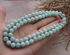 Certified Green Burma Natural A JADE Jadeite Beads Necklace 22 inches 670133