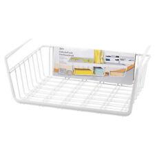 White Under Shelf Storage Basket Table Rack Wire Mesh Kitchen Cabinet Organiser
