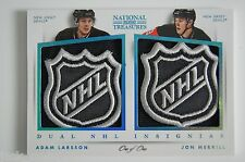 2013-14 National Treasures ADAM LARSSON / JON MERRILL DUAL NHL SHIELD LOGO #1/1
