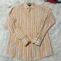 Banana Republic Mens Sz M 15.5 Orange Stripe Long Sleeve Button Down Dress Shirt