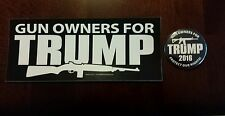 2PC.Gun Owners For Trump President 2016 Protect Our 2nd Amendment Sticker&Button