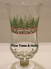 Home Interioir Pine Trees & Holly Clear Votive Cup w/ rubber grommet