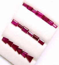 23.80Cts Tol, Natural Gem Lot/56 Pcs Tappered /Straight Baguette Ruby Mixed size