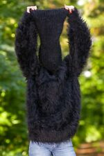 Fuzzy black mohair sweater extra long turtleneck hand knitted jumper SuperTanya