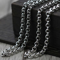 """Real 925 Sterling Silver Necklace Classical Vintage O Link Chain 18"""" - 32"""""""