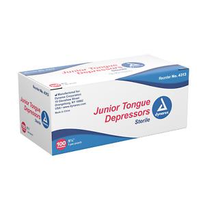 """Tongue Depressors Sterile Junior Wood 5 1/2"""" Box Of 100  Dynarex"""