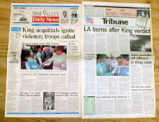 2 best 1992 CALIFORNIA display newspapers RODNEY KING RACE RIOTS in Los Angeles