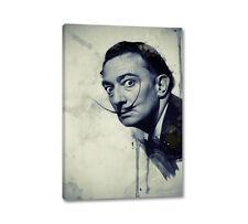 Salvador Dali Portrait 90x60cm Leinwandbild Vintage Grün Blau Aquarell Caro Art