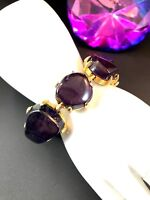FABULOUS GOLD-TONE FINISH POLISHED AMETHYST PURPLE STONE CHUNKY LINK BRACELET