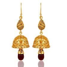 925 Sterling Silver Handmade Diamond Cut Ruby Jhumka Earrings Jewelry
