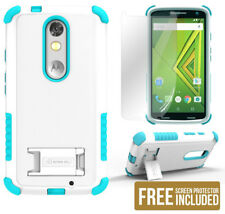 TURQUOISE TRI-SHIELD SOFT SKIN HARD CASE COVER STAND FOR MOTOROLA DROID TURBO 2