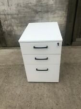 Portable White 3 Drawer Lockable Filing Cabinet Pedestal Keys Unit Home Office