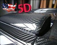 "5D Ultra Gloss Glossy Bright Black Carbon Fiber Vinyl Wrap Sticker Decal 12x60"""