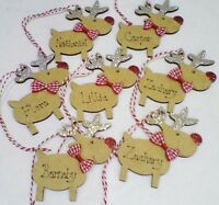 Personalised Reindeer Christmas Tree Decoration Decorated Childs Name Glitter
