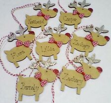 Christmas Tree Decoration Reindeer Personalised Decorated Childs Name Glitter