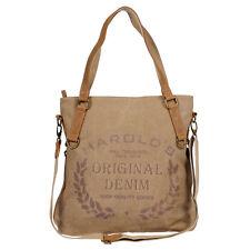 Harold's XL Canvas Damen Handtasche Leder Schultertasche Umhängetasche Tasche