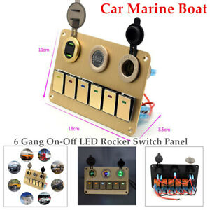 Car Marine Boat 6 Gang On-Off LED Rocker Switch Panel Circuit Dual USB Universal