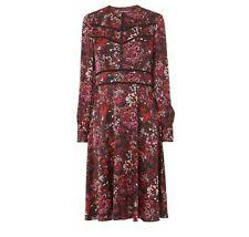 L K BENNETT Red Robyn Printed long sleeve Satin Dress size UK 12 RRP £250