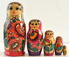 """Mexican Floral 5 Piece Russian 7"""" Nesting Doll Collectible Vibrant Colors"""