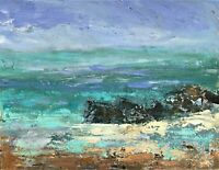 ORIGINAL SIGNED IMPRESSIONIST ABSTRACT ROCKS  SEASCAPE OIL PAINTING ON PAPER
