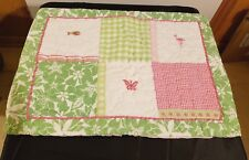 Pottery Barn Kids Pillow Sham Standard Pink Green Embroidered Ribbon Trim